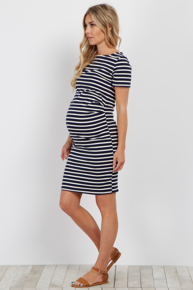 cb45fc9e962cd Navy Ivory Striped Fitted Maternity Dress