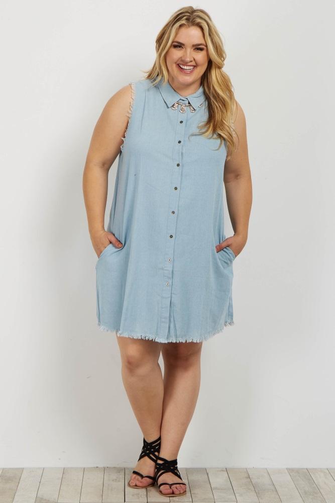 9a7f23ab6183a Light Blue Chambray Button Down Raw Cut Plus Maternity Dress