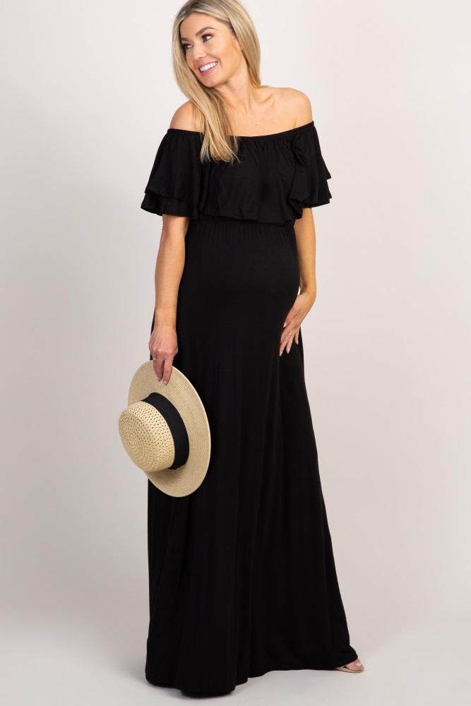 4b161a63ec4a Black Off Shoulder Ruffle Trim Maternity Maxi Dress
