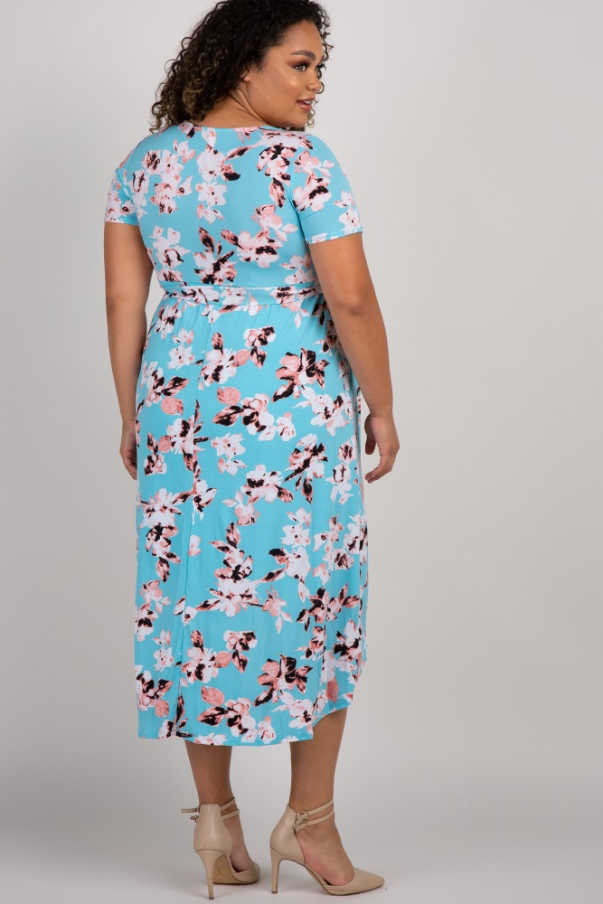de89b461a56e3 Aqua Floral Hi-Low Plus Maternity/Nursing Wrap Dress