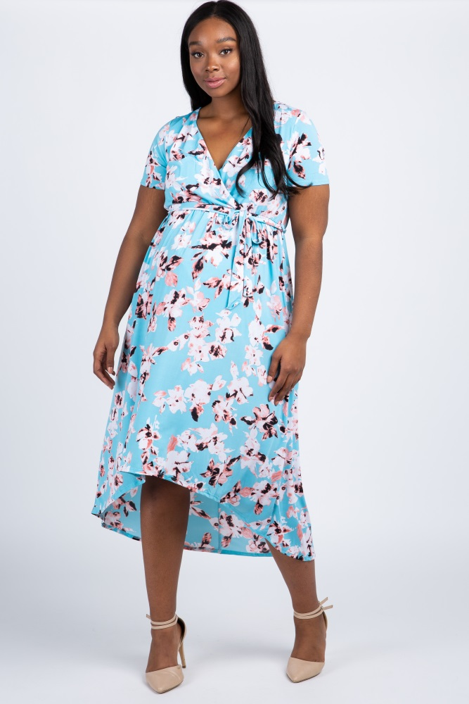 2ce69efe14e0c Aqua Floral Hi Low Plus Maternity/Nursing Wrap Dress