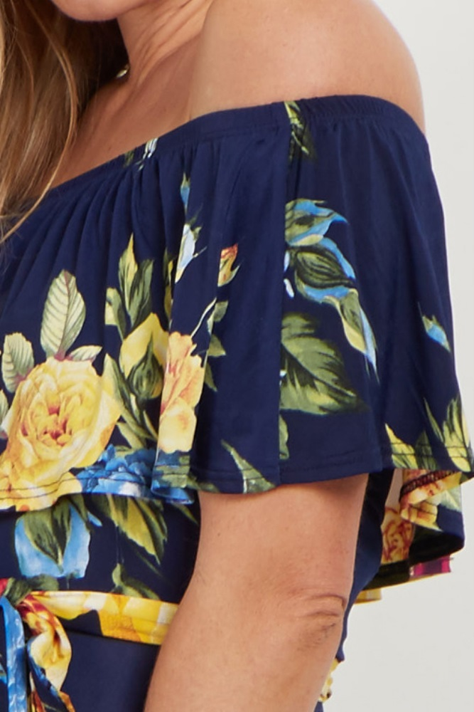 fa13d19390f5 Navy Yellow Floral Off Shoulder Sash Tie Maternity Maxi Dress