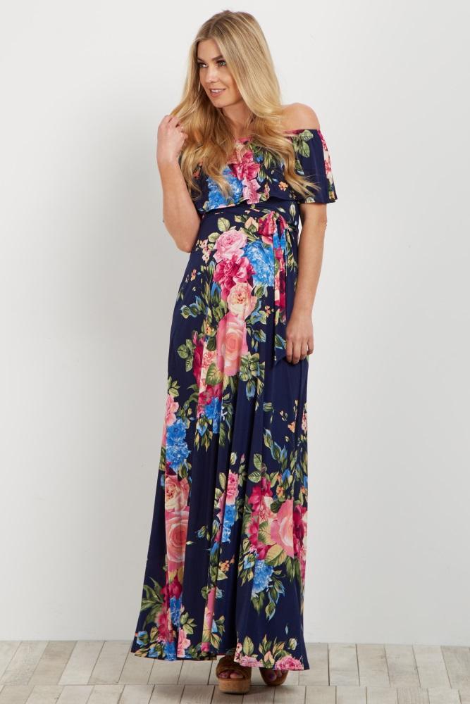 1ddfe575106 Navy Pink Floral Off Shoulder Sash Tie Maternity Maxi Dress