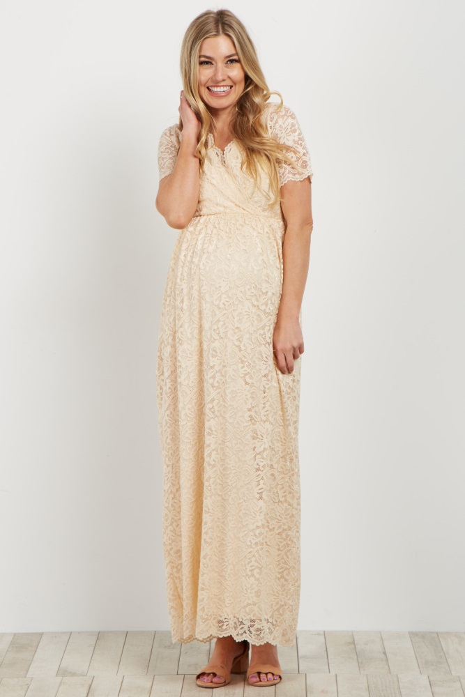 8305a360e26dd Ivory Lace Overlay Wrap Maternity Maxi Dress