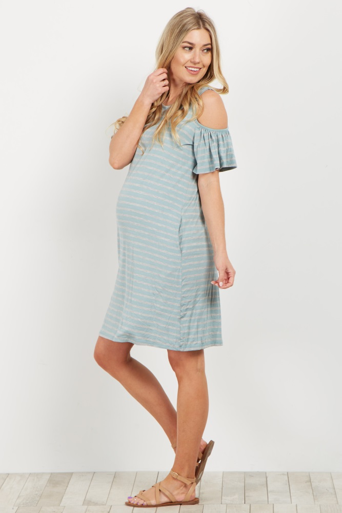8897d45a5193e Blue Striped Cold Shoulder Maternity Dress