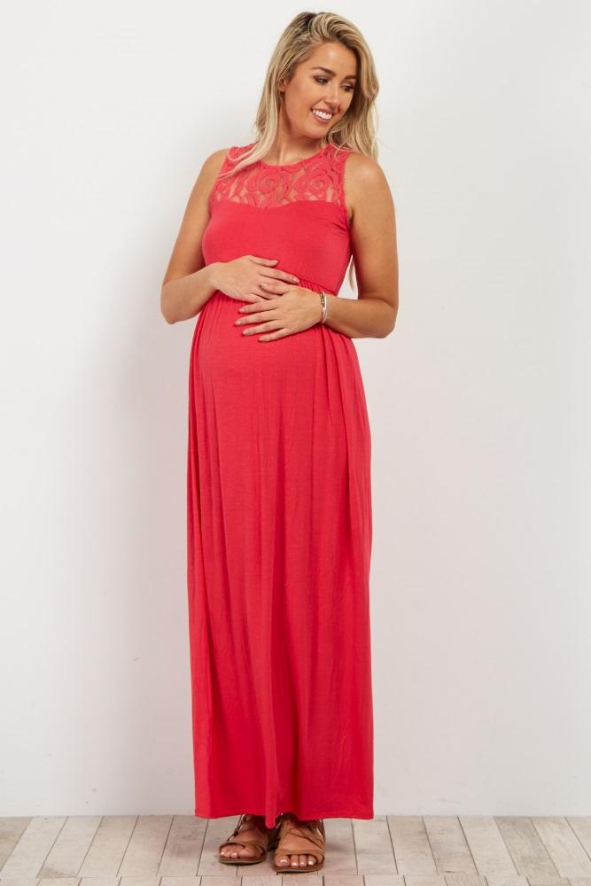 74e0c2855e834 Coral Lace Accent Maternity Maxi Dress
