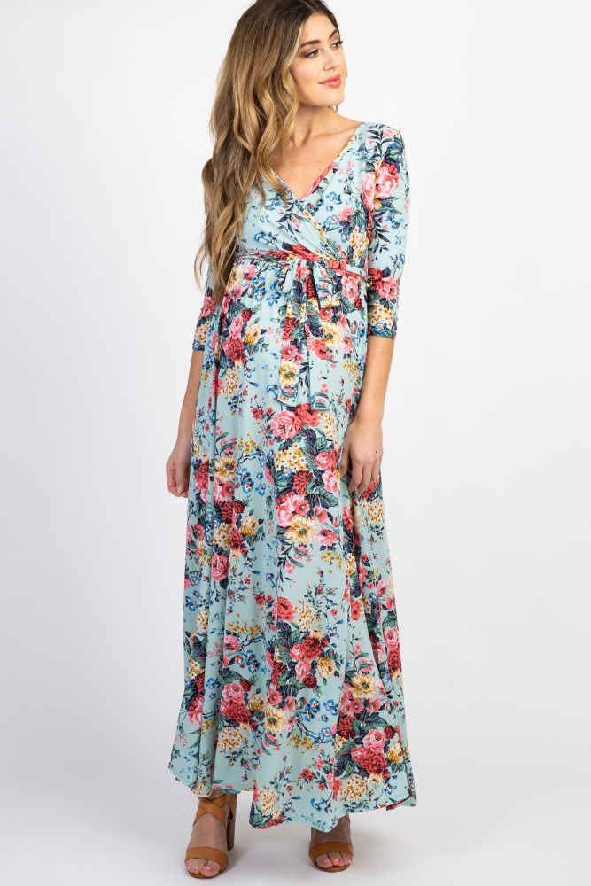d4cb8a73fa Mint Green Floral Sash Tie Maternity Nursing Maxi Dress