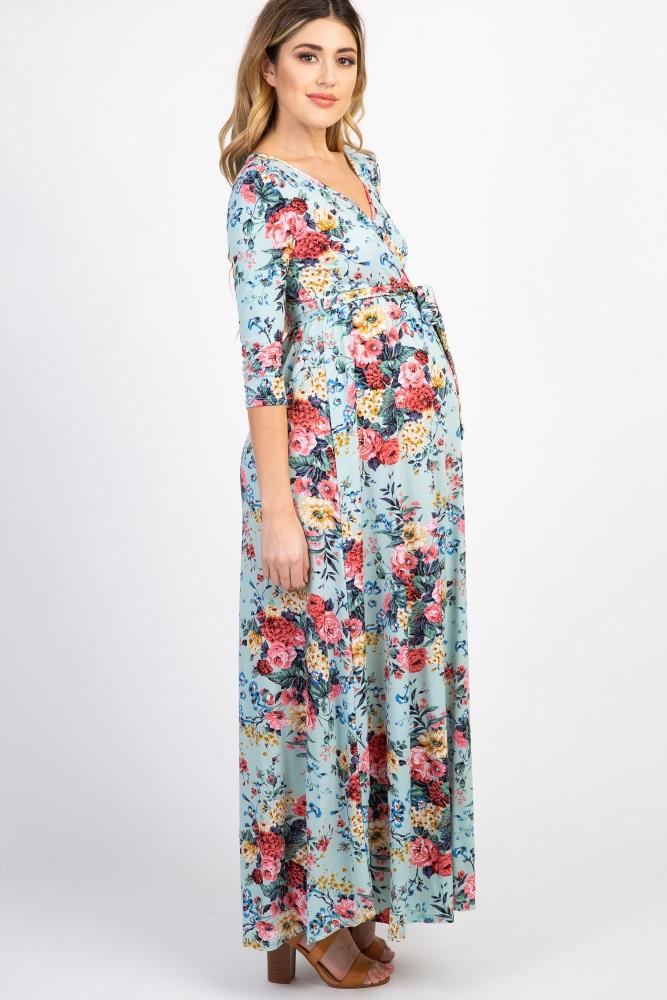 e5ca960e5ef34 Mint Green Floral Sash Tie Maternity/Nursing Maxi Dress