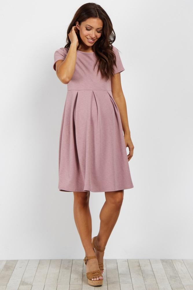 43726b17b3 Mauve Basic Pleated Skirt Maternity Dress