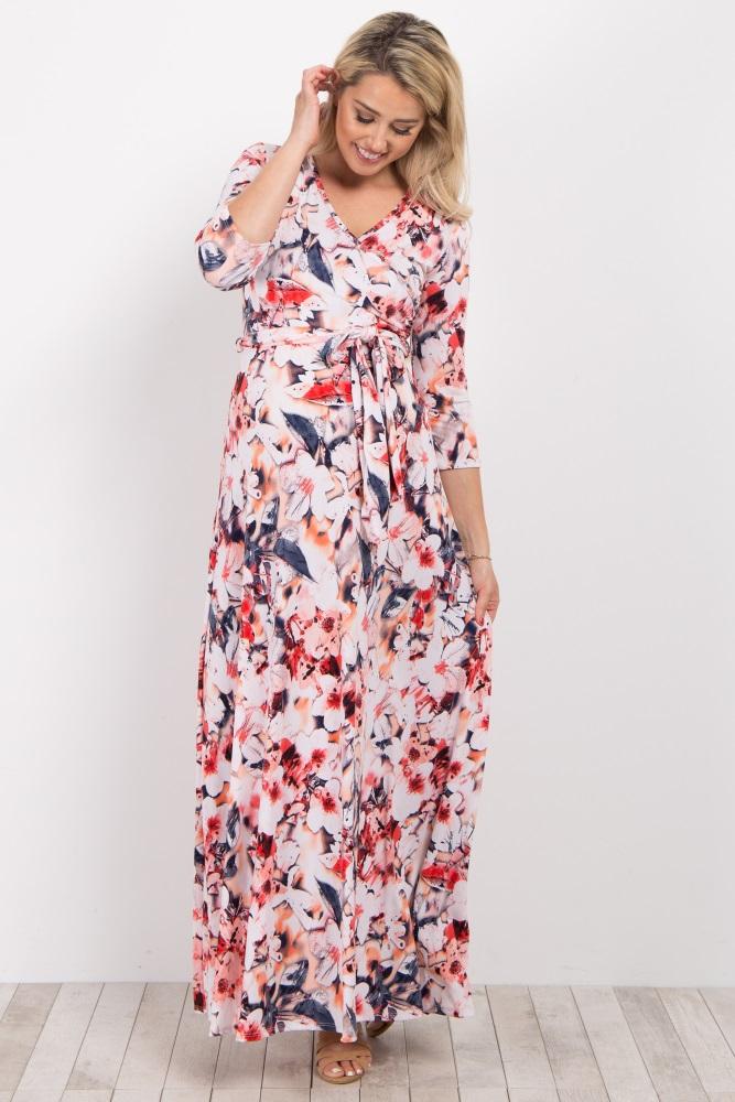 65284fb628c Pink Abstract Floral Maternity/Nursing Wrap Maxi Dress
