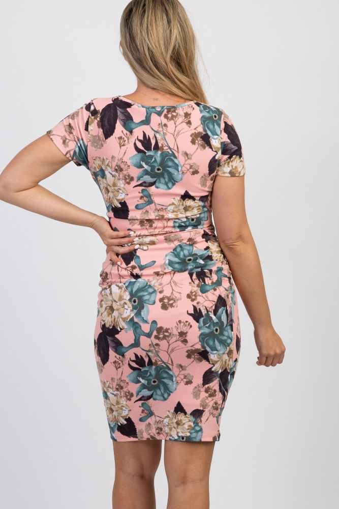 321141ccc6426 Pink Floral Short Sleeve Fitted Maternity Dress