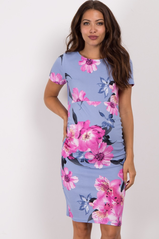 4620e57a22 Blue Floral Fitted Maternity Dress