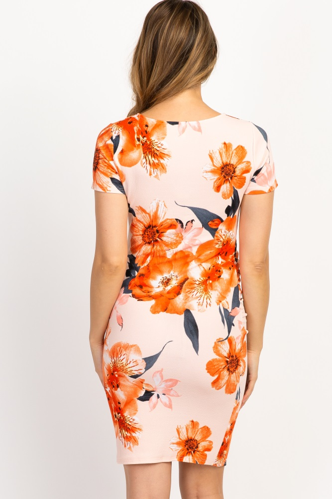 32a51d4efd Peach Floral Fitted Maternity Dress