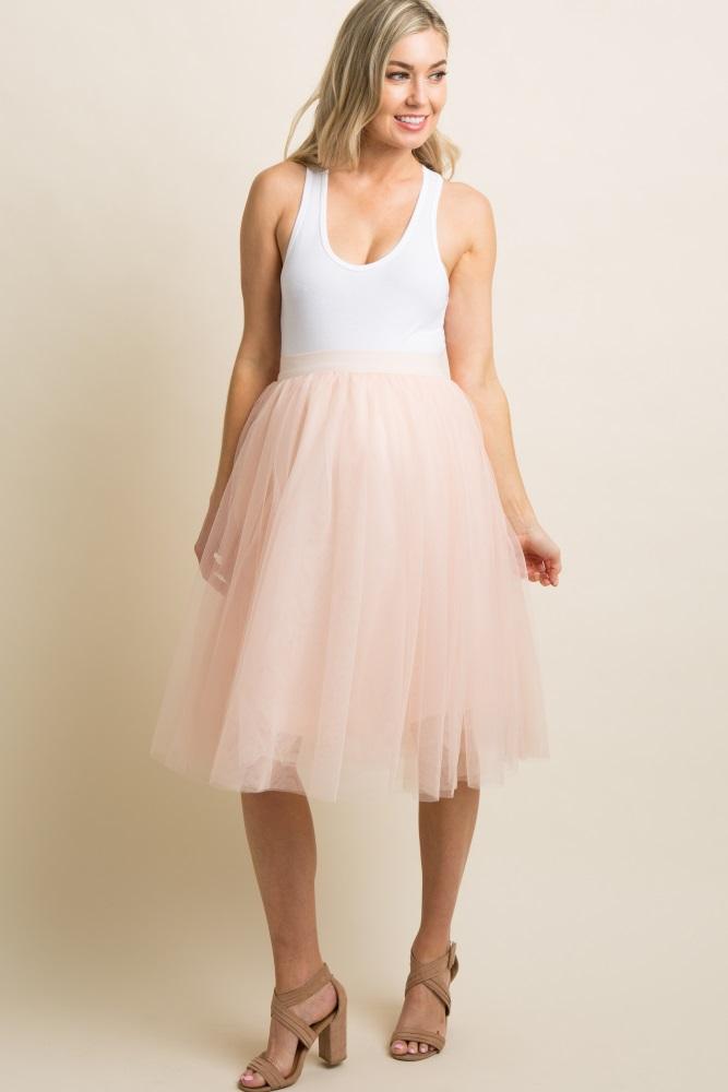 c6d479b5508c4 Peach Tulle Mesh Midi Maternity Skirt