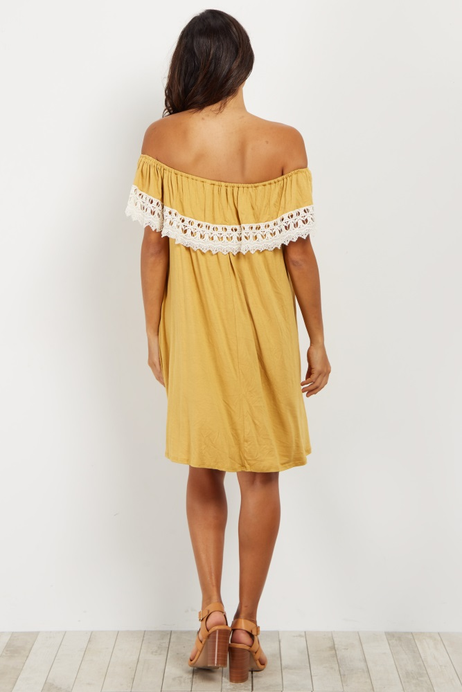 a632405787044 Yellow Crochet Trim Off Shoulder Maternity Dress