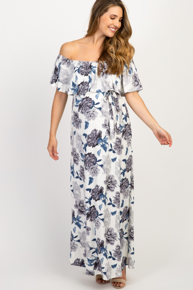 c4dae338927 Ivory Floral Off Shoulder Sash Tie Maternity Maxi Dress
