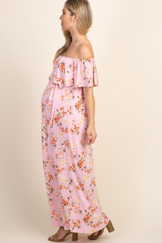 96b9137302 Light Pink Floral Off Shoulder Sash Tie Maternity Maxi Dress