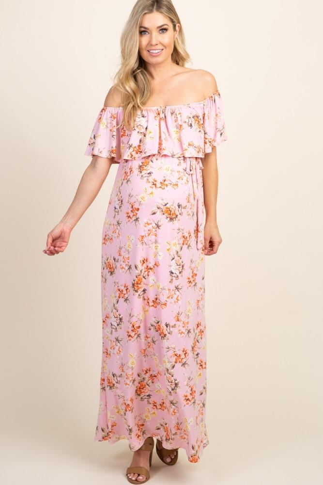 a1fba7ec0d70 Light Pink Floral Off Shoulder Sash Tie Maternity Maxi Dress