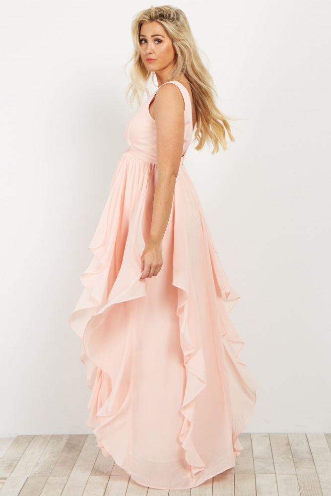 812a9636c34a Light Pink Deep V Ruffle Chiffon Maternity Gown