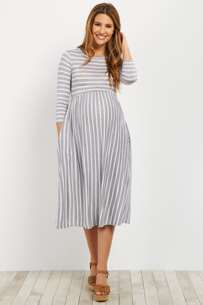 9c5be227024bc Heather Grey Striped 3/4 Sleeve Maternity Dress