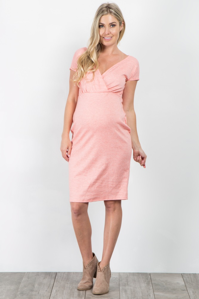7de0c9a162a Coral V Neck Fitted Maternity Dress