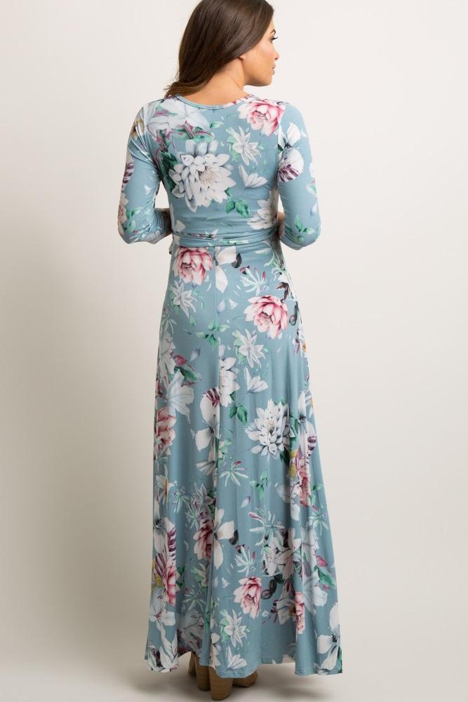 36a43403dcd75 Blue Floral Wrap Maternity/Nursing Maxi Dress