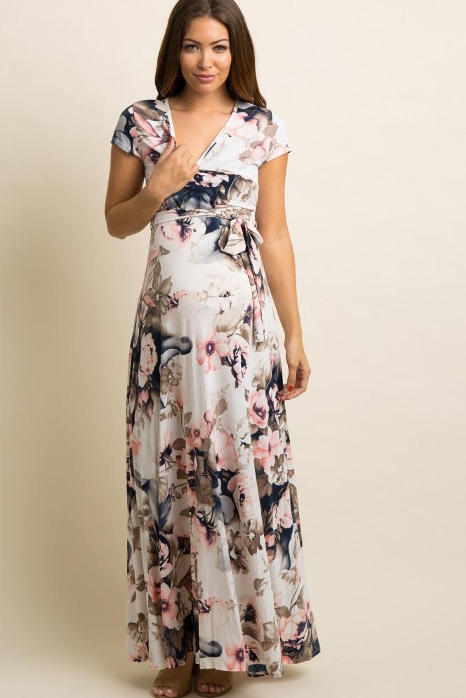 298f4b27d55 Pink Floral Short Sleeve Maternity/Nursing Wrap Maxi Dress