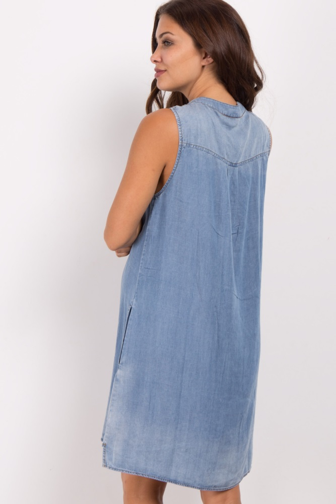 817d4bf2bf6c2 Blue Lace Up Chambray Maternity Dress