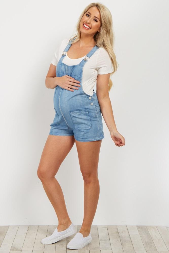 889ecd197bb8b Blue Denim Maternity Overall Shorts