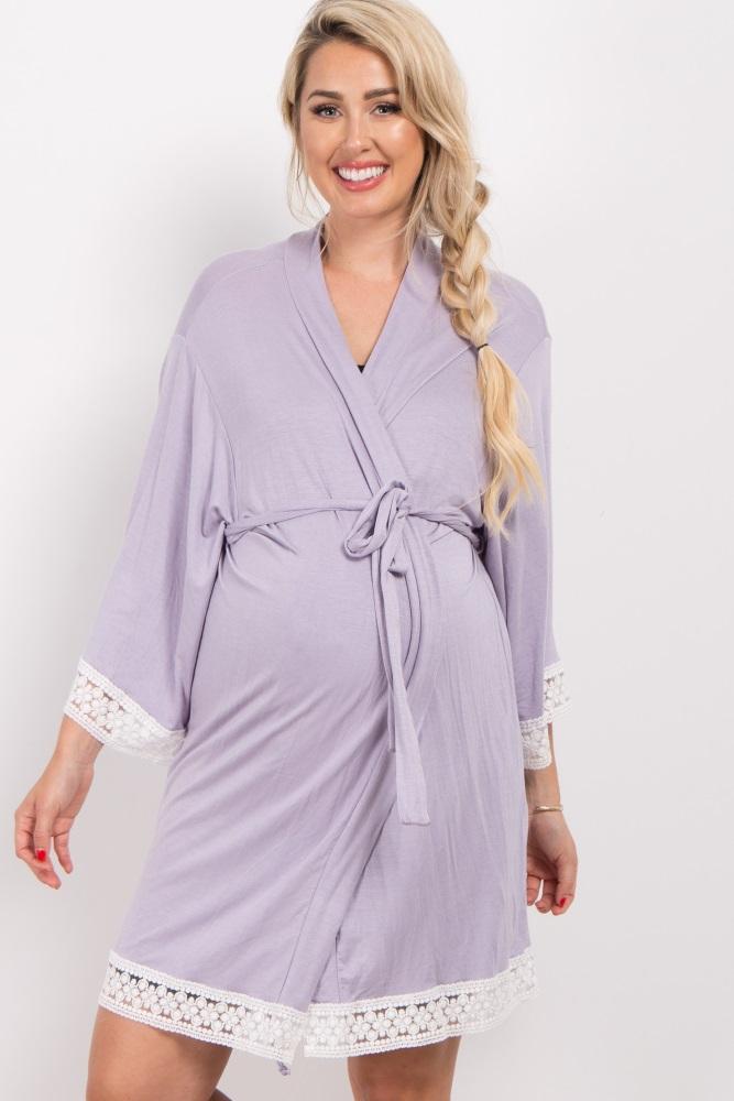 lavender crochet trim delivery/nursing maternity robe