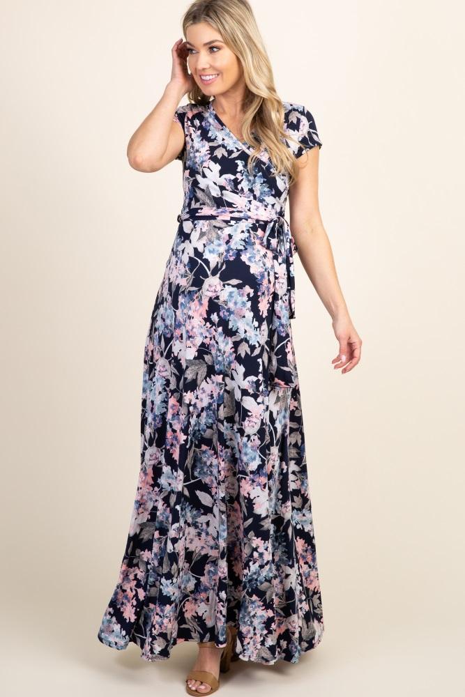 395c0631d0 Navy Floral Short Sleeve Maternity/Nursing Maxi Dress