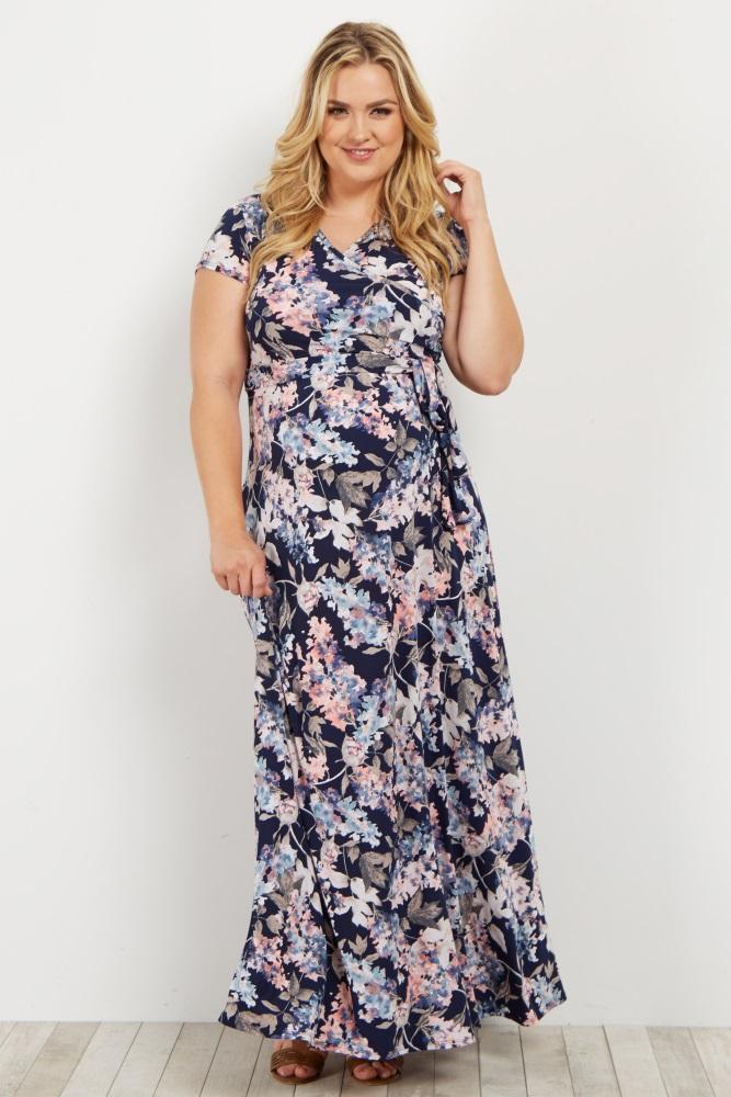 fcf72c12f0 Navy Floral Short Sleeve Plus Maternity/Nursing Maxi Dress