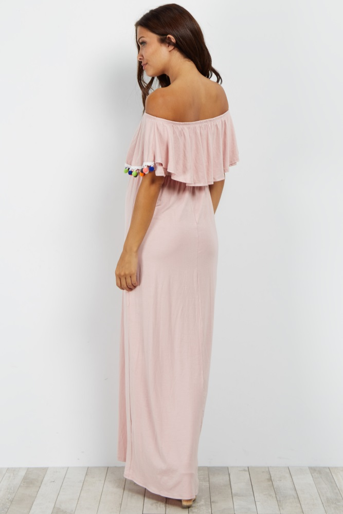 17999f2d29ab8 Pink Pom Trim Off Shoulder Maternity Maxi Dress