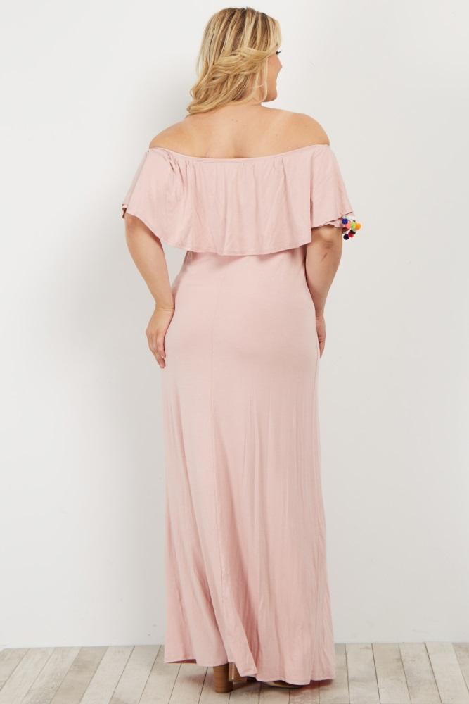 68293a84dc8b1 Pink Pom Trim Off Shoulder Plus Maternity Maxi Dress
