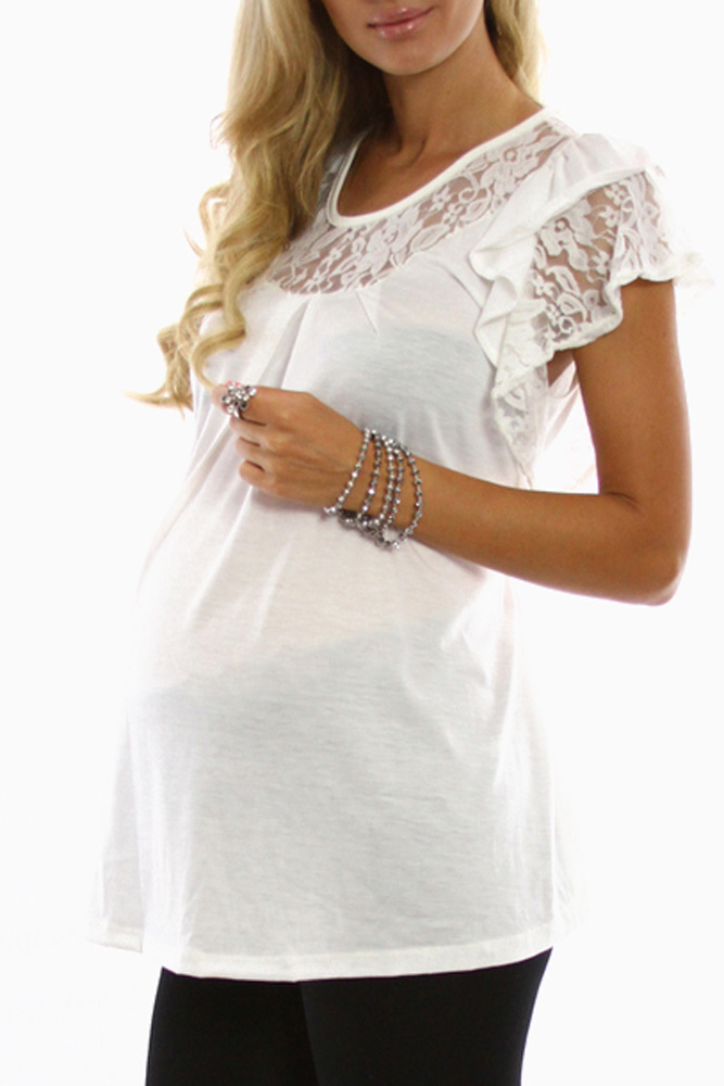 36cf68601b4d0 Ivory Lace Short Sleeve Maternity Shirt