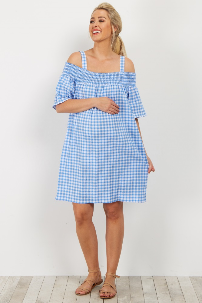 403c0abf2db Blue Gingham Open Shoulder Smocked Maternity Dress