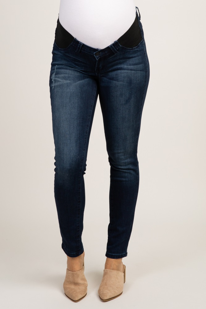 083c8daed1ee7 Navy Blue Distressed Maternity Skinny Jeans