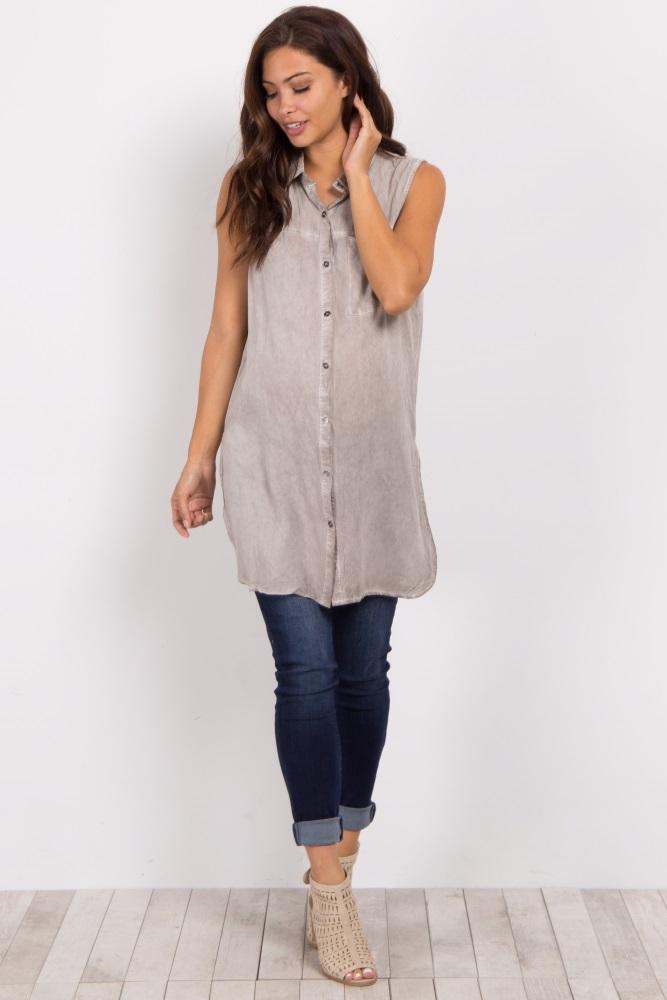 1fdbe1afeca14 Grey Sleeveless Button Down Maternity Top