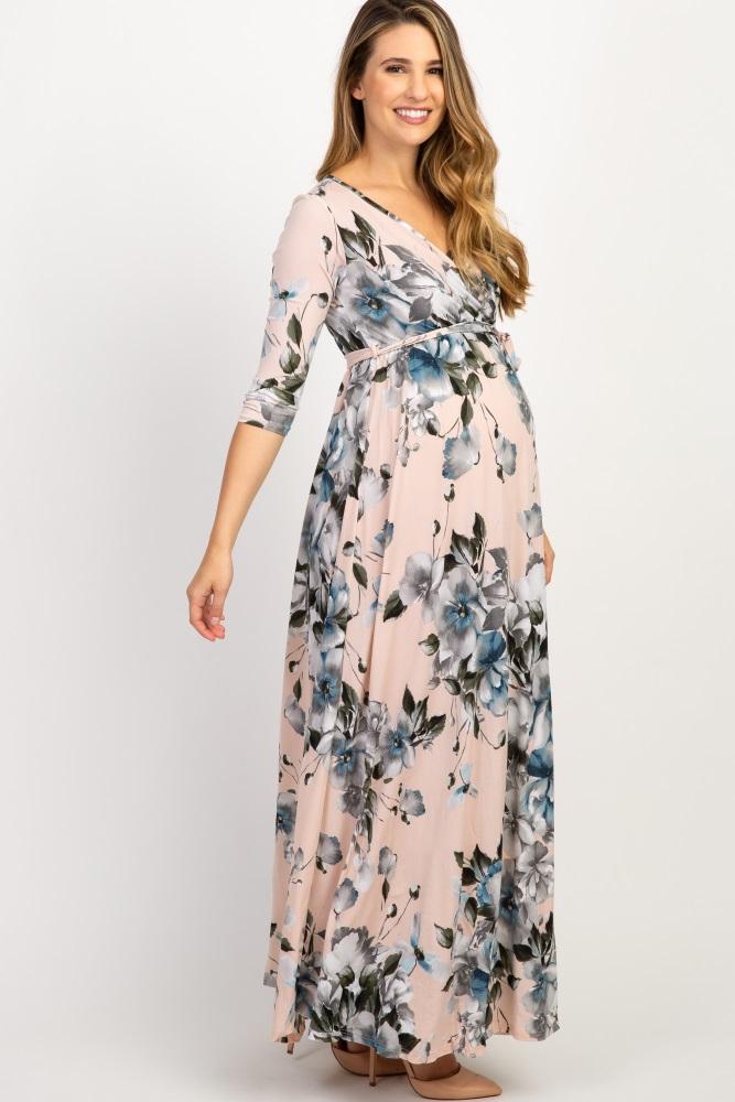 f8de9308e00 Pink Floral Maternity/Nursing Wrap Maxi Dress