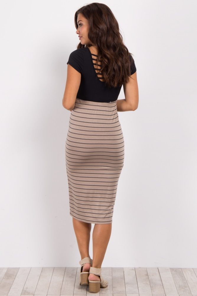 72a0056fe42 Taupe Striped Fitted Maternity Pencil Skirt