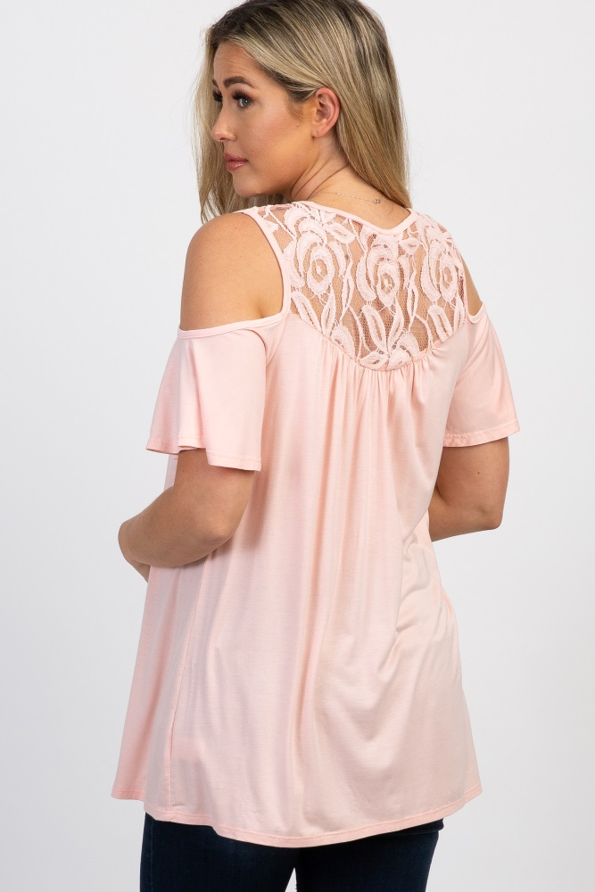 f4918a5e517a02 Light Pink Lace Accent Cold Shoulder Maternity Top