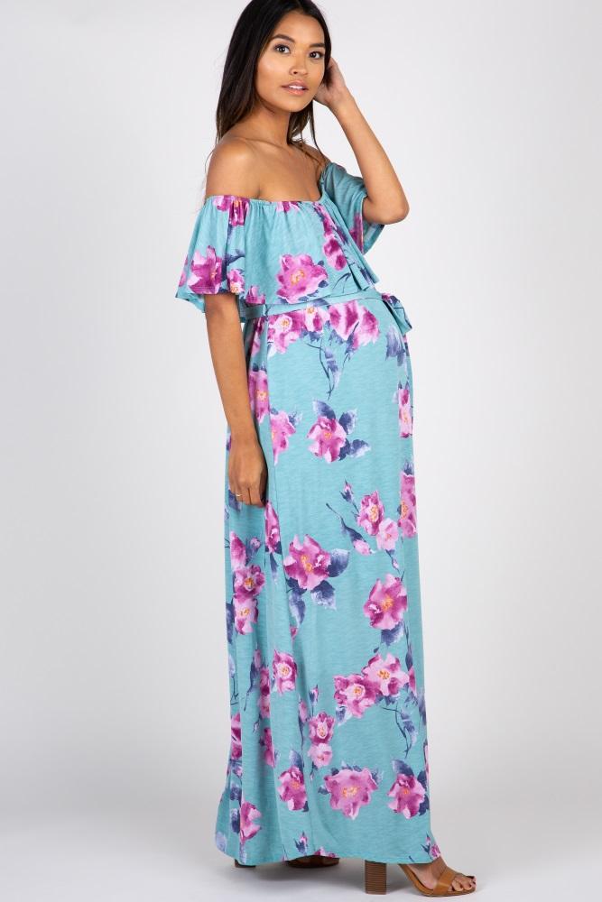 9ab0c2e63e5 Light Blue Floral Off Shoulder Sash Tie Maternity Maxi Dress
