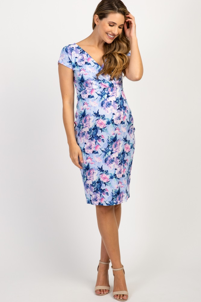 7ca25be21102f Blue Floral Fitted Maternity Wrap Dress