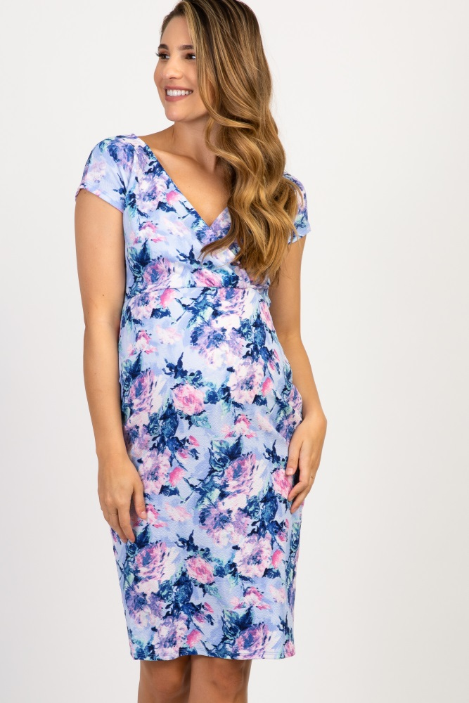 bd8cc00413 Blue Floral Fitted Maternity Wrap Dress