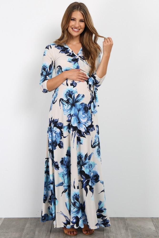 718091fad12 Cream Floral Sash Tie Maternity Maxi Dress