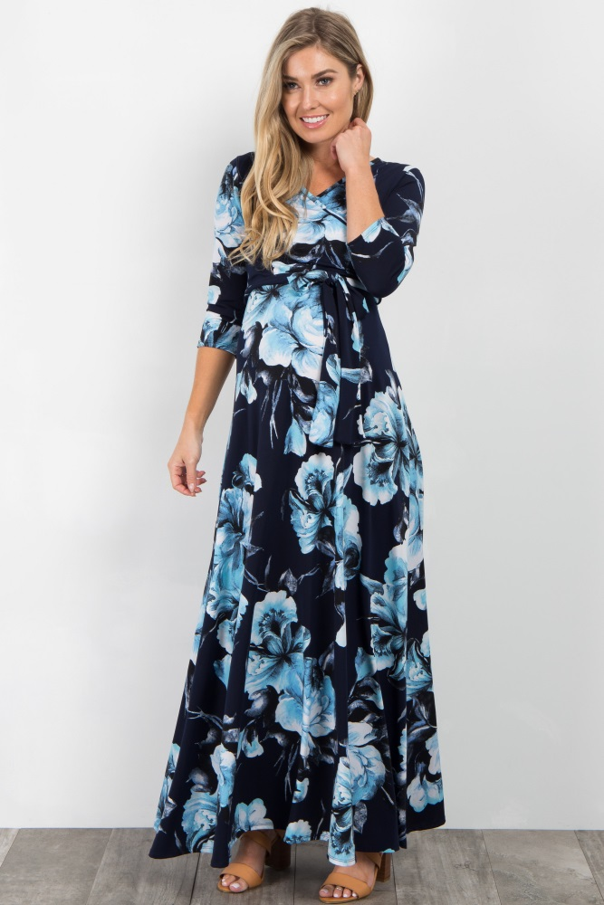 43091a424faea Blue Floral Sash Tie Maternity/Nursing Maxi Dress