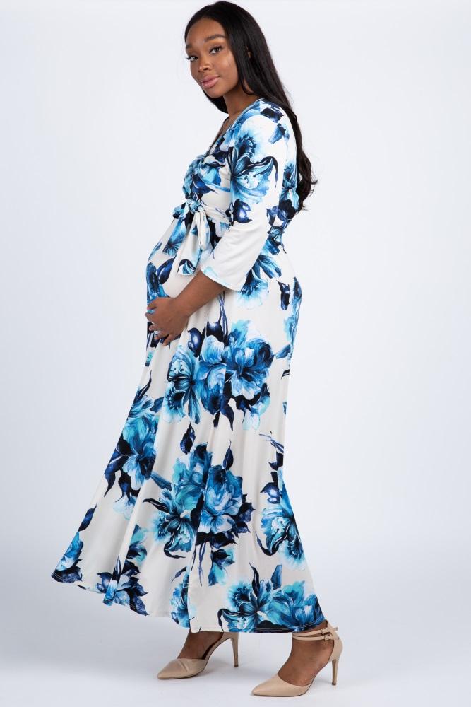 b0b11ca833829 Cream Floral Sash Tie Plus Maternity/Nursing Maxi Dress