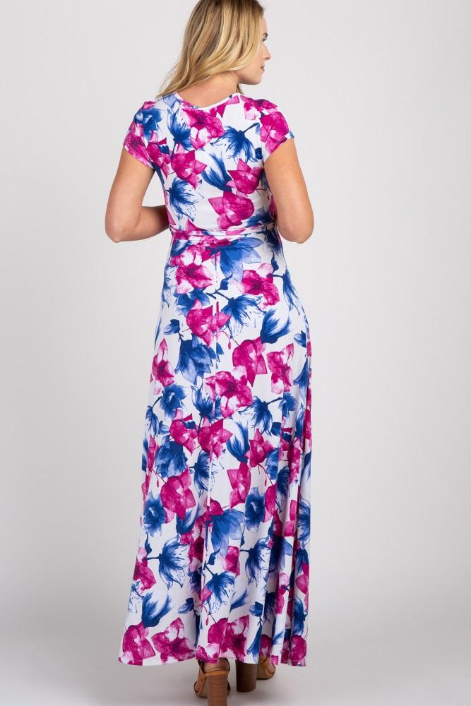 a324cacf72a White Floral Short Sleeve Maternity/Nursing Wrap Maxi Dress