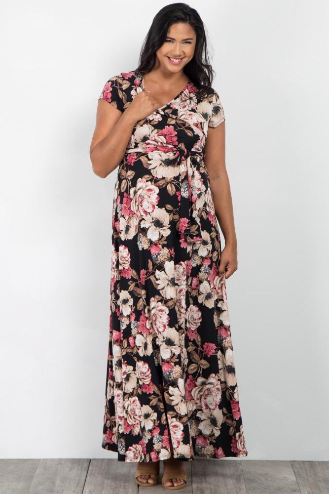 c680223dc38 Black Floral Short Sleeve Plus Maternity/Nursing Wrap Maxi Dress