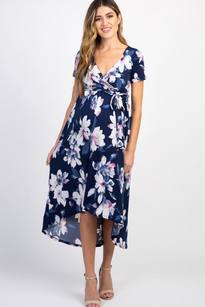 b40a592ac8b Navy Floral Hi Low Maternity Wrap Dress
